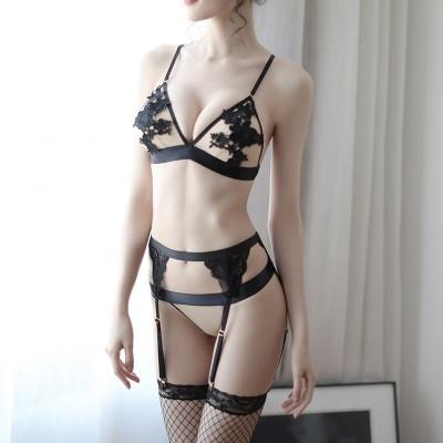 秘幼透明网纱睡袍性感露三点式浴袍套装情趣内衣