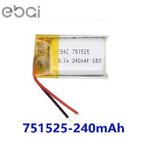 EBAI锂电池751525 3.7v 240mAh蓝牙耳机 情趣用品 小灯具锂电池石家庄